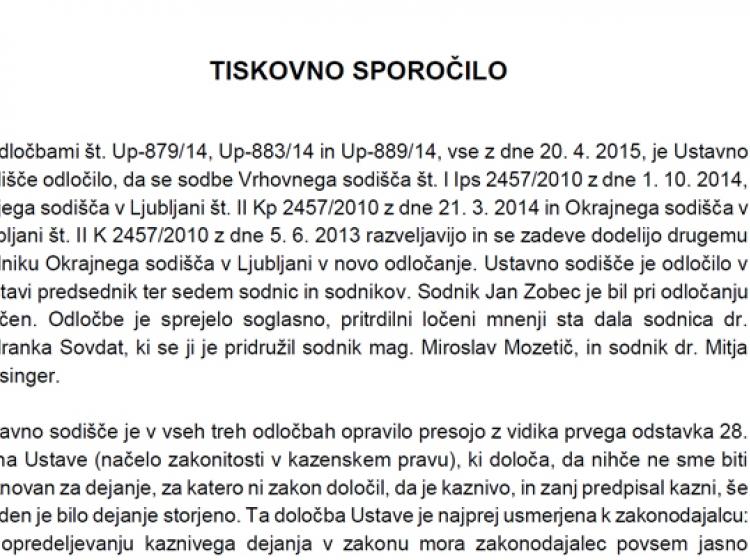 Ob priložnosti razveljavitve sodbe v primeru Patria: Odvisno ali neodvisno slovensko sodstvo ...